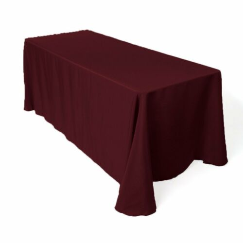 """6 Packs Rectangle 90/""""x132/"""" Polyester Tablecloth 6ft Banquet Overlay 18 COLORS"""