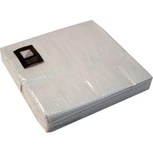 100 x argent 3 ply serviettes en papier 33cm square fête serviettes vaisselle de restauration