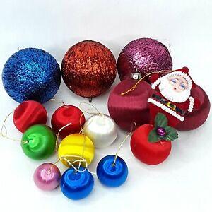 Christmas-nylon-bauble-balls-Faux-silk-Ornament-Santa-Claus-Flocked-Vintage-Bulk
