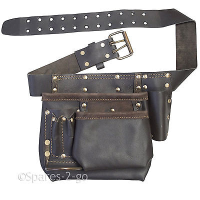 Oil Tanned Leather Tool Belt Pouch Multi Pocket Carpenter Builder Construction