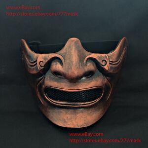 Samurai Mask Ronin Mempo Kabuto Japanese Noh Airsoft Paintball Half Face MA216