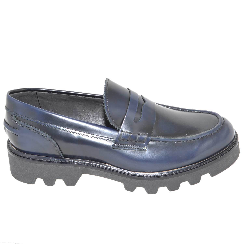 Calzature uomo scarpe art.324 mocassini college abrasivato blu con bendina fondo