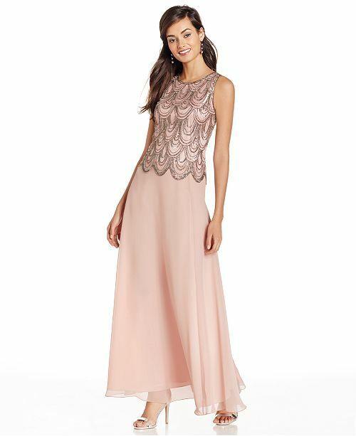 J Kara Sleeveless Beaded Chiffon Gown WITH SCARF 299 SIZE 10