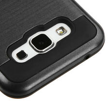 For SAMSUNG Galaxy E5 BLACK BRUSHED SKIN COVER CASE + CLEAR SCREEN PROTECTOR