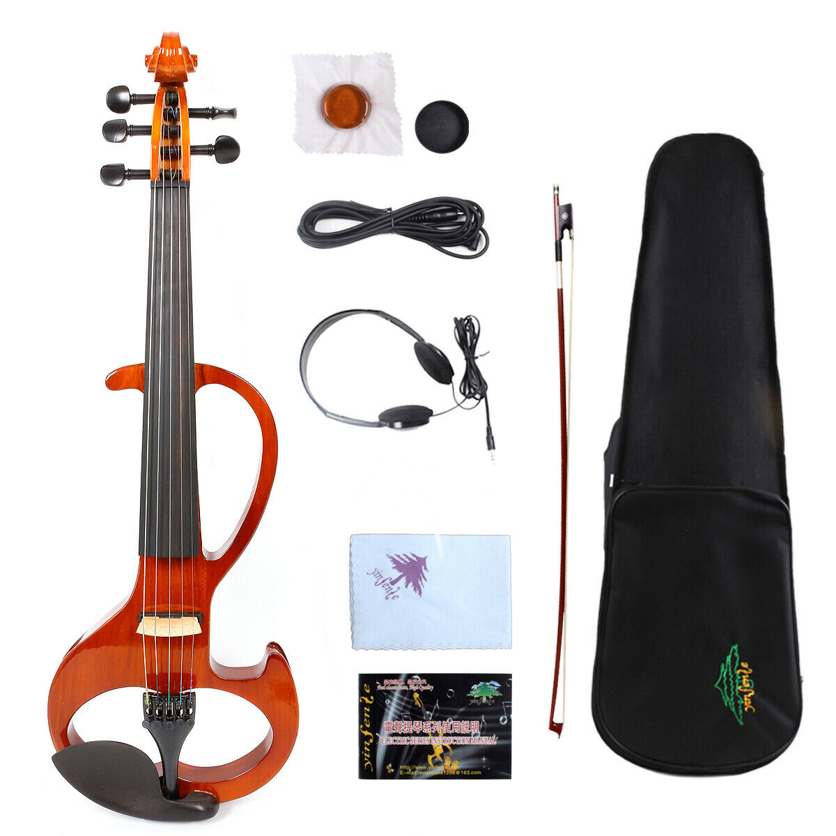 5string 4 4 Electric violin Silent Powerful Sound Ebony Fittings With Case Bow