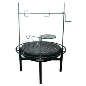 Details About Charcoal Grill U0026 Fire Pit 31in Rotisserie BBQ Barbecue  Adjustable Cooking Grate