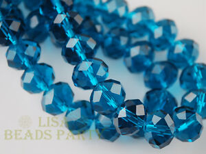 50pcs-8X6mm-Rondelle-Faceted-Crystal-Glass-Loose-Spacer-Beads-Peacocok-Blue