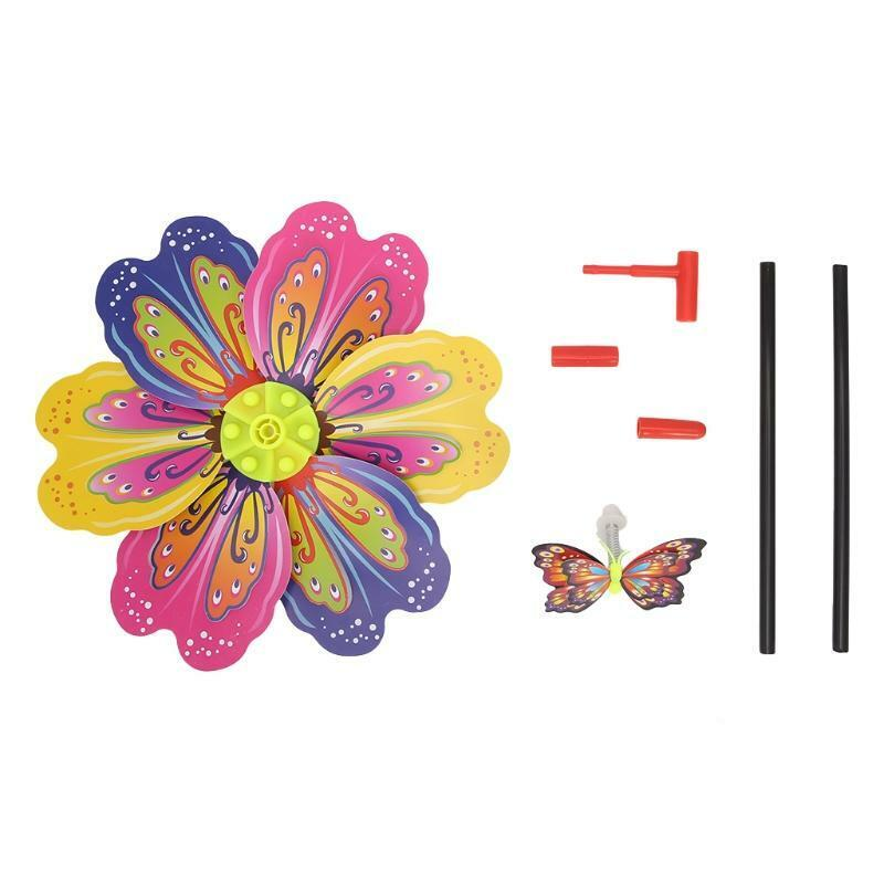 3D Butterfly Flower Windmill Wind Spinner Home Garden Yard Decoration Kids Toy