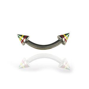 1,2mm Piercing Barbell mit 2 Jamaica Spitzen Ohr Intim Piercing Stab Stecker