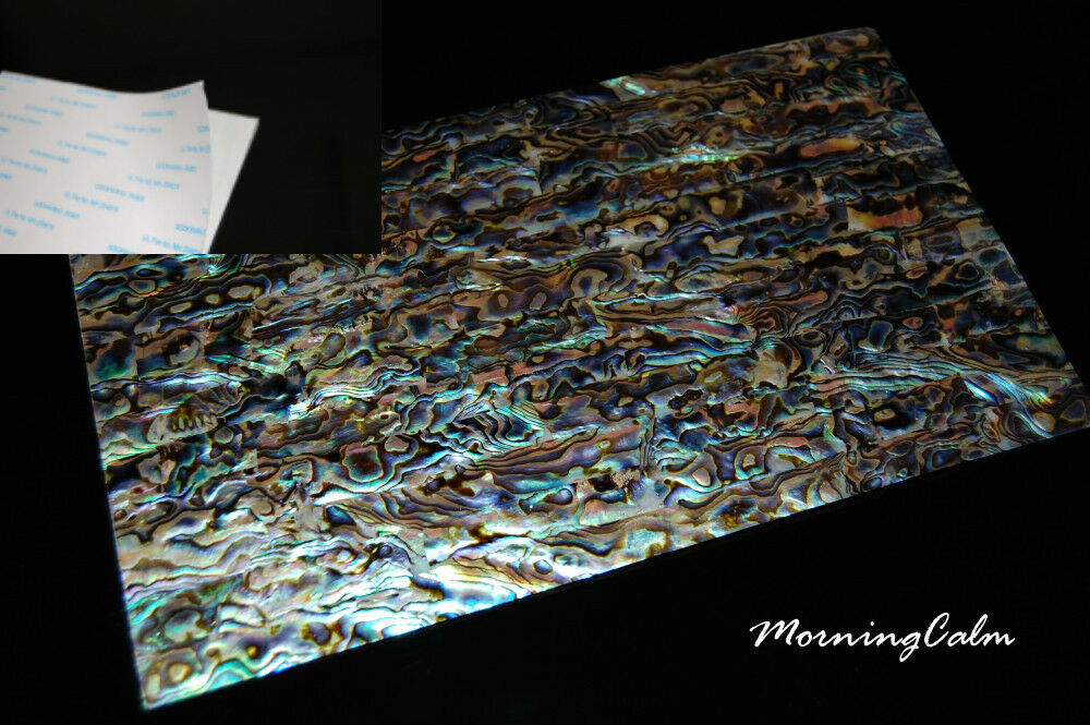 3 Sheets of Blau Paua Shell Adhesive Veneer (Inlay Overlay Nacre Luthier)