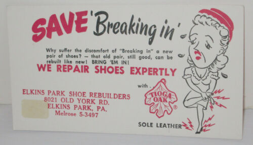 VINTAGE SHOE REBUILDERS REPAIR ADVERTISING INK BLOTTER TIOGA OAK ELKINS PARK PA