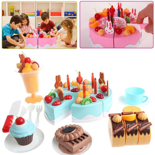Excellent 75Pcs Plastic Kitchen Cutting Toy Birthday Cake Pretend Play Food Personalised Birthday Cards Veneteletsinfo