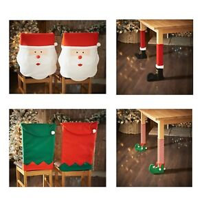 Christmas-Decoration-Elf-Santa-Chair-Cover-Leg-Covers-Table-Xmas-Decor-NEW