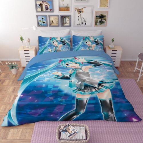 Japan anime Hatsune Miku Bedding set Comforter Duvet Quilt Cover Pillowcase No17