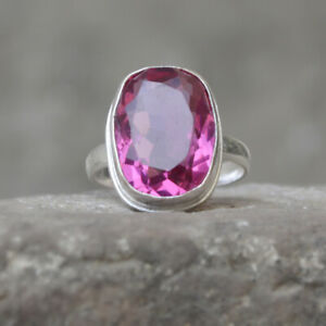Oval-Faceted-Pink-Tourmaline-Gemstone-925-Sterling-Silver-Artisan-Ring-Jewelry