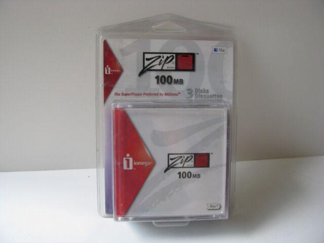 Vtg Old Iomega Zip Brand 3 Disks Disquetts MAC Apple Super Floppy Sealed in Pack