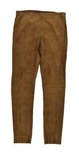 b0694d256a2e3 Caricamento dell immagine in corso Ralph-Lauren-Polo-Camoscio-Marrone -Elastico-Aderente-Pantaloni-
