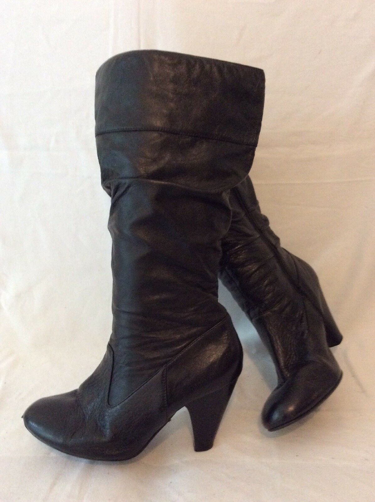d4ace1a3d4315 E. Mid Calf Leather Boots Size 7W Black ntwfll1605-Women's Boots ...