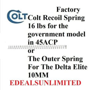 Details about FACTORY COLT Recoil Spring Government 45ACP Delta Elite 45  ACP 10mm COLT 1911