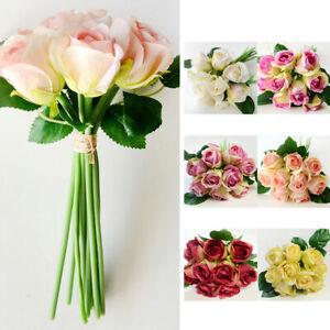 1-Bunch-9-Heads-Artifical-Silk-Rose-Flower-Bouquet-Wedding-Party-Christmas-Decor