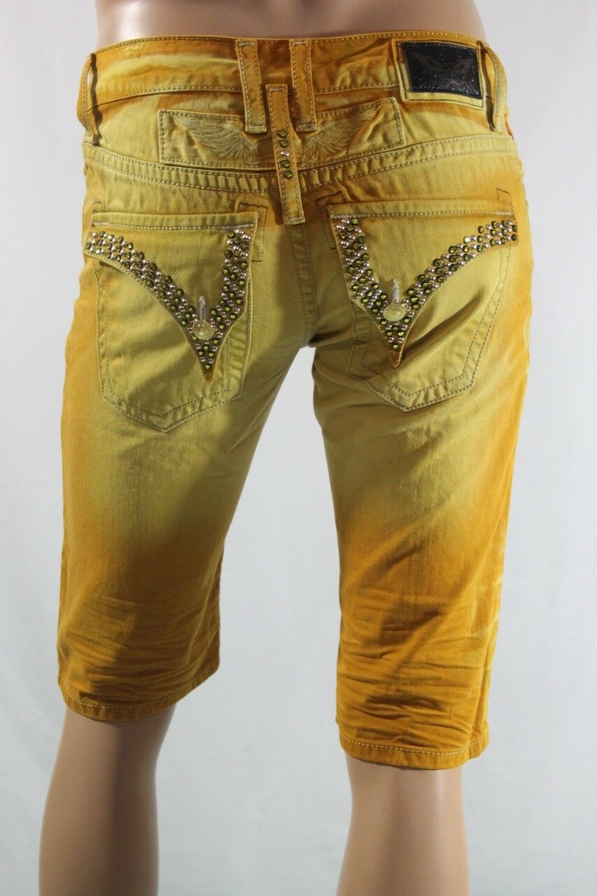 New Men's Robin's Jean Long Flap Citrine Swarivski gold Studs Shorts SZ 30
