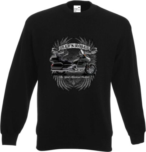 Sweatshirt schwarz Honda Goldwing Motorraddruck Modell Let`s Roll
