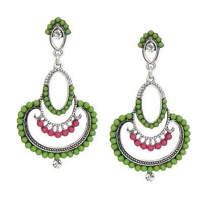 Ohrringe grün pink silber by Ella Jonte Ohrstecker neue Saison grüne Ohrringe