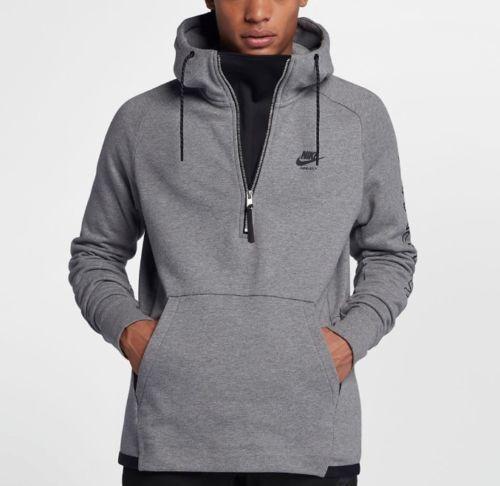 8b6093c9755 Nike Men s Sportswear Air Max Half Zip Hoodie Heather Grey Large 886075 091  for sale online