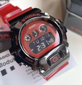 Casio-G-Shock-GM6900B-4-Black-Steel-Digital-Case-Jelly-Red-Resin-Strap-Watch