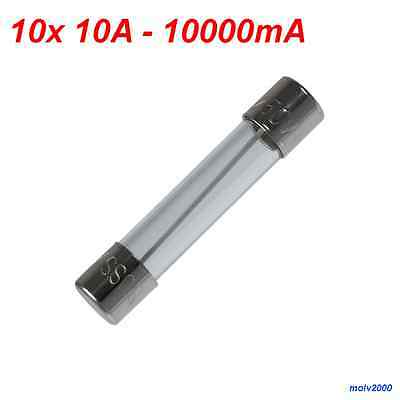 10x Fusible rapido 3A 3 A 3000mA 250V FAST QUICK BLOW GLASS TUBE FUSE