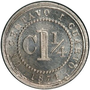 Colombia-1-1-4-centavos-1874-PCGS-MS65-37805088