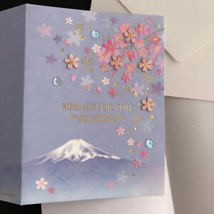 Mt.Fuji and Cherry Blossom Greeting Card with message and envelope from Japan