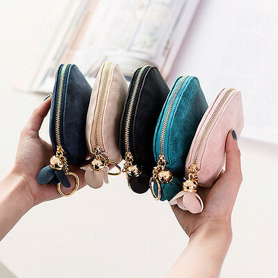 Fashion Women PU Leather Mini Wallet Card Key Holder Zip Coin Purse Clutch Bag