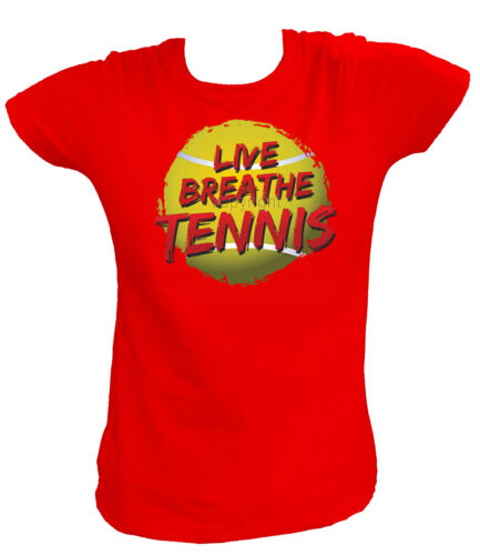 Damen T-Shirt 18338 LIVE BREATHE TENNIS Fans Spielen Play Sport Like USA