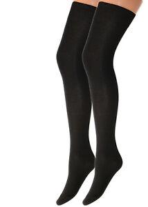 2-4-paia-calze-Donna-modello-parigina-in-caldo-cotone-elasticizzato-nero