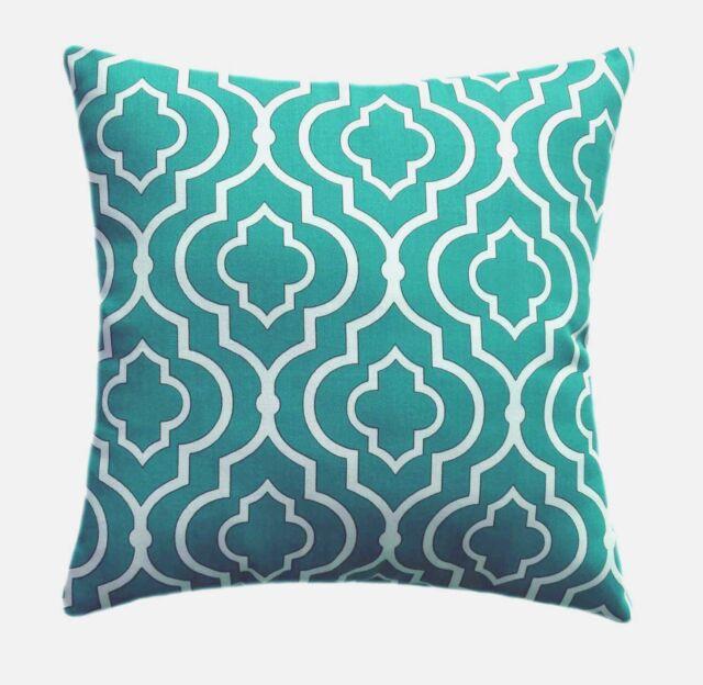 Teal Moroccan Quatrefoil Modern Outdoor Pillow - Mill Creek Starlet Teal