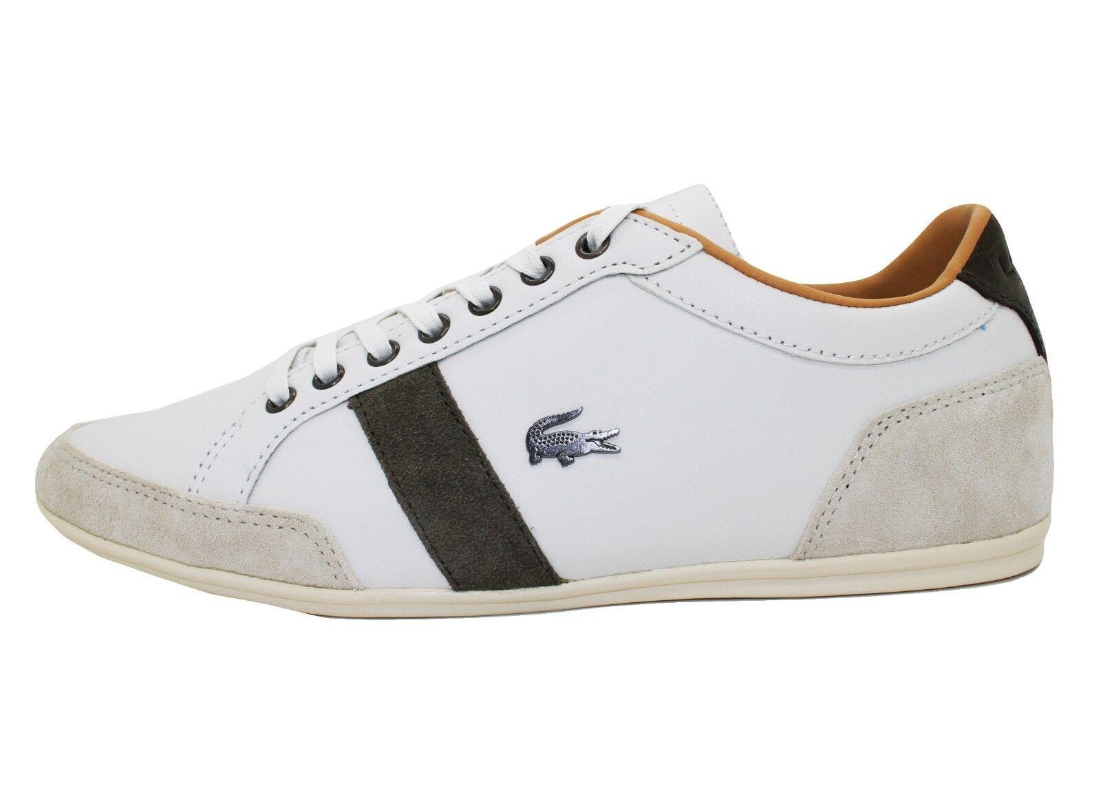 Lacoste schuhe Mens ALISOS 19 Fashion Turnschuhe Casual Leather Weiß braun