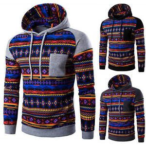 Hombre-Bohemia-Sudadera-Con-Capucha-Sueter-de-manga-larga-Abrigo-jersey-chaqueta
