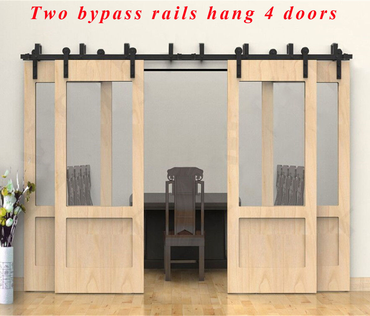 4 16ft Black Bypass Country Sliding Barn Double Wood Door