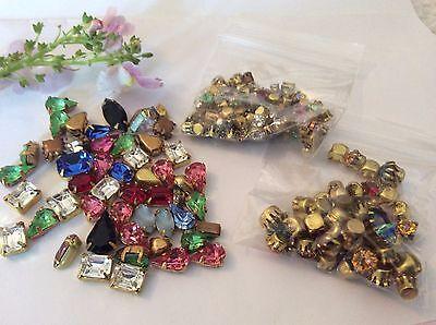 60 Vintage Rhinestones jewellery repair//craft mixed shape Foiled In Crystal
