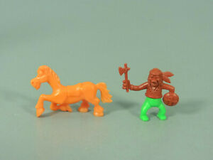 STECKIS-Funny-Indianer-D-EU-1988-Figur-1-braun-gruen-Pferd-ORANGE