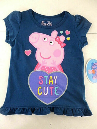 Peppa Pig T-Shirt Toddler Girls Size 2T Short Sleeve Navy Stay Cute NEW