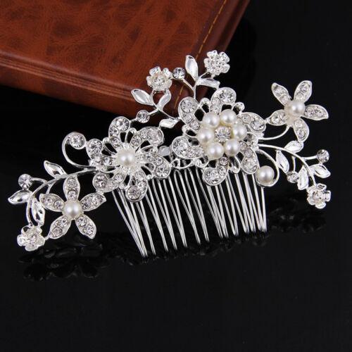Braut Hochzeit Blumen Kristall Strass Perlen Frauen Kamm Dekor Chic Haar NEU