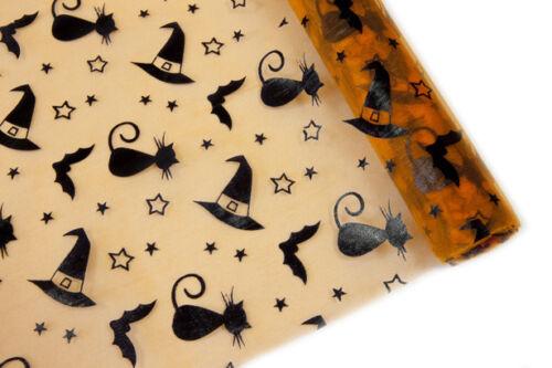 Tischläufer Halloween in orange mit schwarzen Katzen Hexenhut /& Fledermäusen