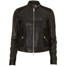 Versace Black Leather Wool Blend Panelled Biker Jacket - IT 42 UK 10