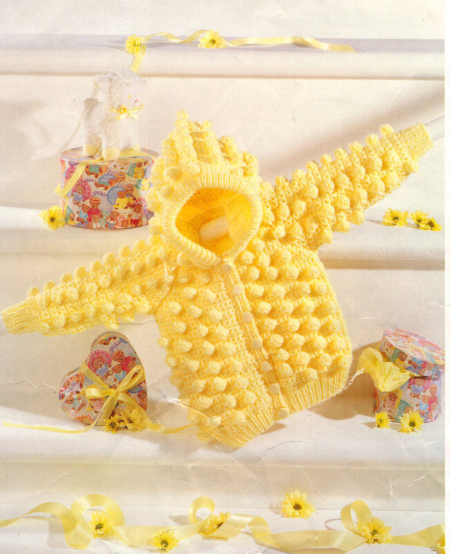 Knit Popcorn Stitch Hat Pattern : Crochet/Knit Pattern Baby Aran Popcorn Stitch Cardigan/Jacket with Hood 14 - ...
