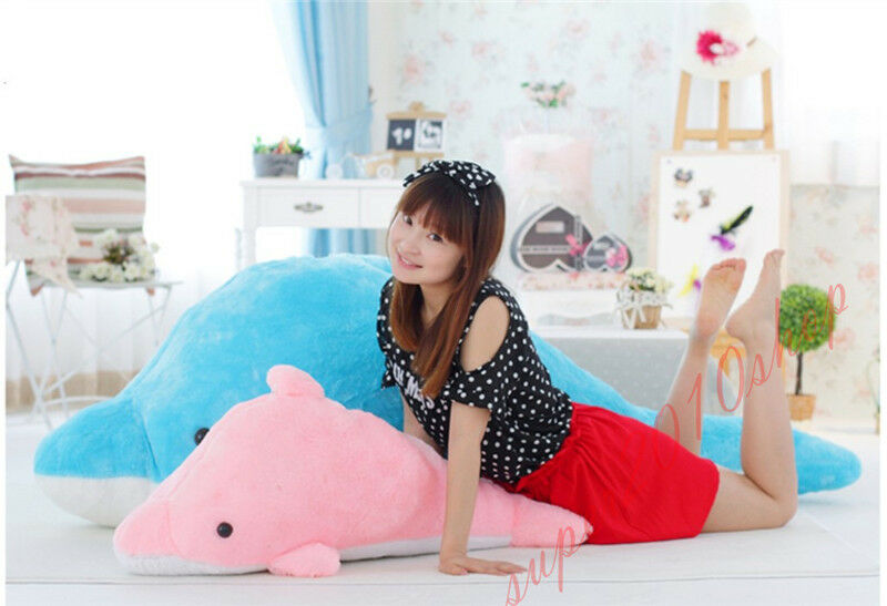 2018 Giant Dolphin Stuffed Animal Plush Soft Toy Pillow Bolster Cushion dolls