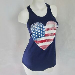 7b56632edbe L NWT Graphic Heart American Flag Tank Top Patriotic USA Womens Size ...