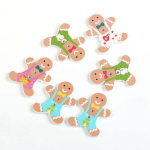 Details About 15 Christmas Gingerbread Man Painted Wood Button 30mm Sewingembellishment 90a