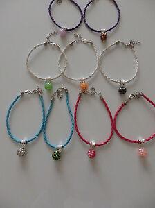 Women-039-s-Girl-039-s-Friendship-Bracelet-Braided-Faux-Leather-with-Rhinestone-Charm